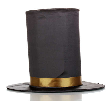 stovepipe hat: Black cylinder isolated on white