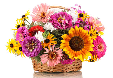 Beautiful bouquet of bright flowers in basket isolated on white Stock Photo - 14906757