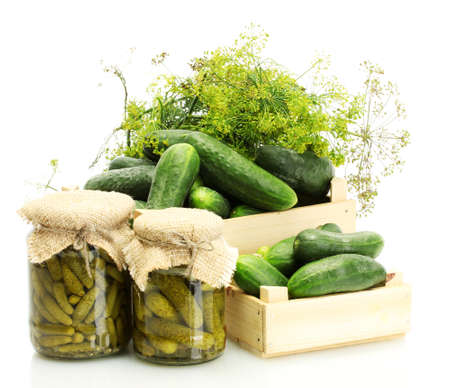 fresh cucumbers in wooden boxes, pickles and dill isolated on white photo