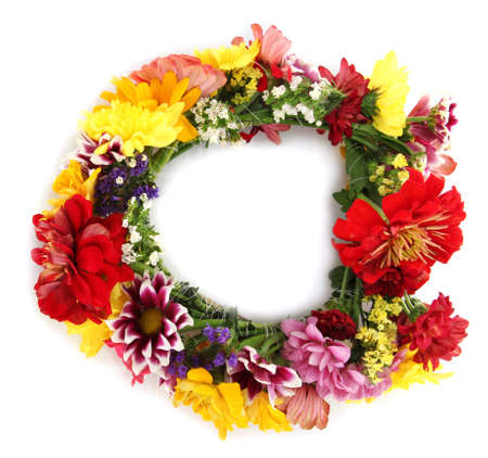 floral wreath: wreath of beautiful summer flowers, isolated on white Stock Photo