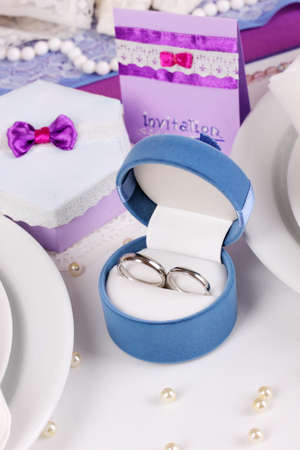 Serving fabulous wedding table in purple color close-up photo