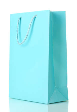 gift bags: blue shopping bag isolated on white