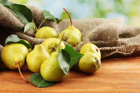 Juicy flavorful pears of nature background photo