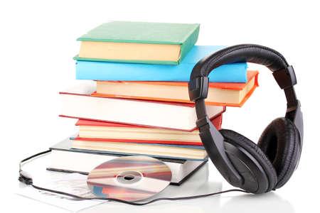 audio book: Headphones on books isolated on white Stock Photo