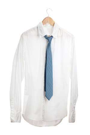 shirt with tie on wooden hanger isolated on white Stock Photo - 15216565