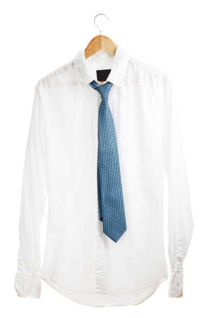shirt with tie on wooden hanger isolated on white photo