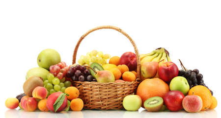 Assortment of exotic fruits in basket isolated on white Stock Photo - 14994623