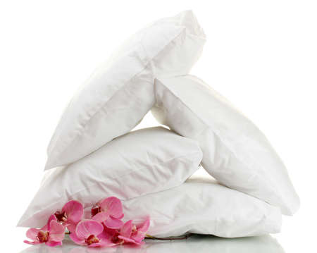 pillows and flower, isolated on white Stock Photo - 14989035