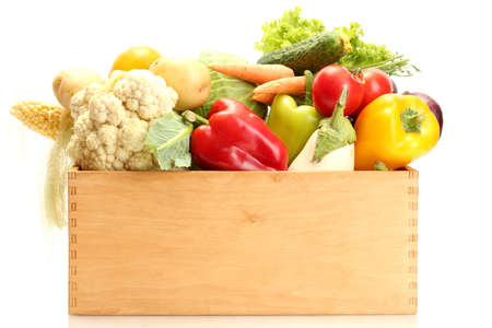 Fresh vegetables in wooden box isolated on white Stock Photo - 15035633