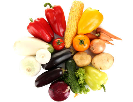 Bright colorful vegetables isolated on white background photo