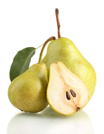 pear tree: Juicy flavorful pears isolated on white Stock Photo