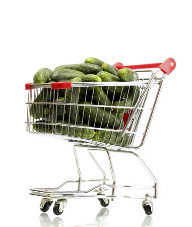 cuke: Fresh cucumbers in trolley isolated on white Stock Photo