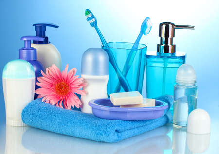 bathroom setting on blue background photo