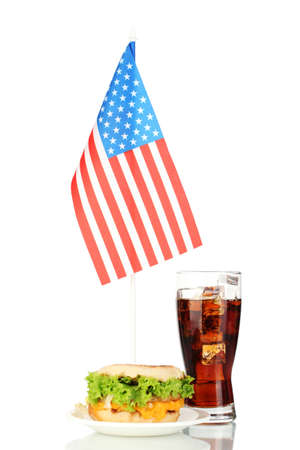 tasty sandwich and cola with american flag, isolated on white photo
