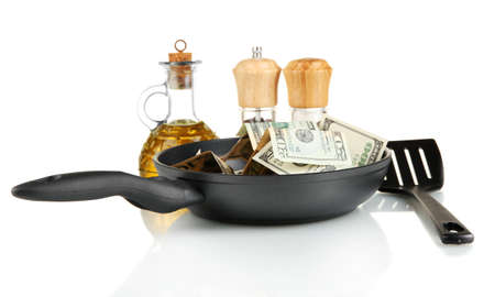 Banknotes in a frying pan with cooking spatula isolated on white Stock Photo - 15104449