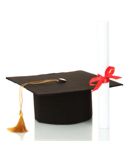 alumna: Grad hat and diploma isolated on white