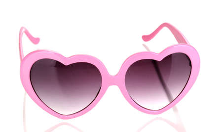 Pink heart-shaped sunglasses isolated on white Stock Photo - 15104425