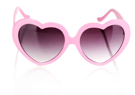 Pink heart-shaped sunglasses isolated on white Stock Photo - 15104420