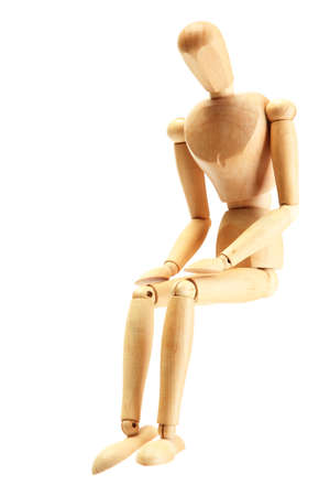 wood figurine: wooden mannequin isolated on white Stock Photo