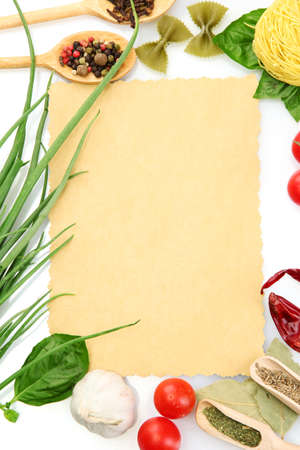 menu: paper for recipes,vegetables and spices, isolated on white