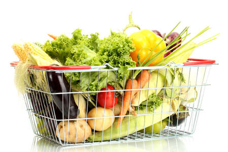 Fresh vegetables in metal  basket isolated on white Stock Photo - 15114544