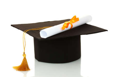 Grad hat and diploma isolated on white photo