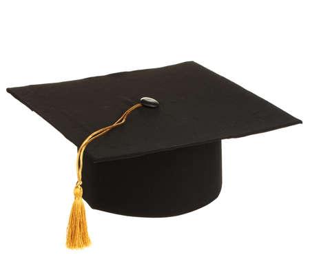gorra: Grad sombrero en la mano aislados en blanco