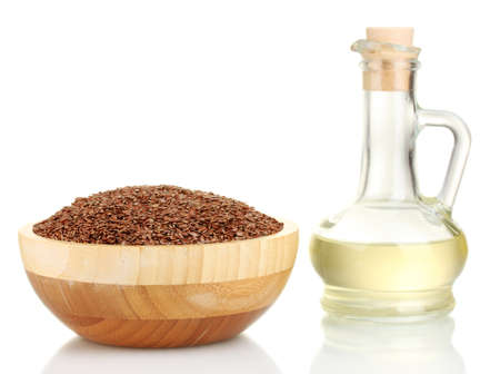 brown flax: linseed oil with flax seeds isolated on white Stock Photo