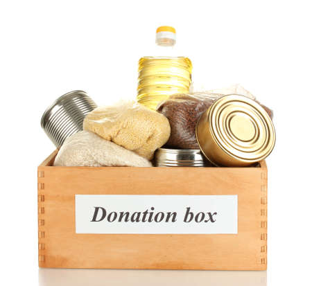 Donation box with food isolated on white Stock Photo - 15114207
