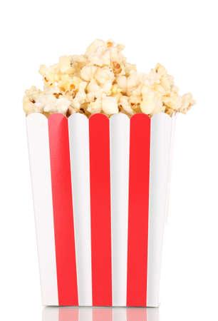 fresh pop corn: classic box of popcorn isolated on white