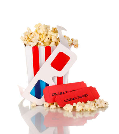 popcorn with glasses and tickets isolated on white photo