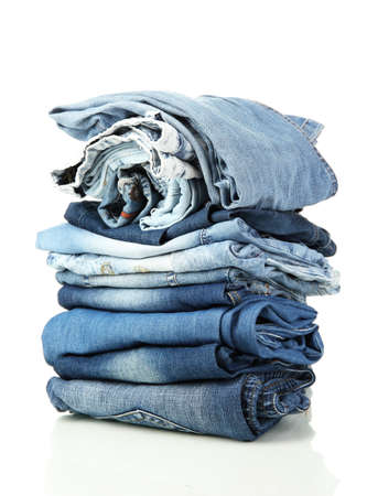 Hose: Viele verschiedene blaue Jeans isoliert auf wei�