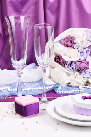 Serving fabulous wedding table in purple color on purple background Stock Photo - 15152795
