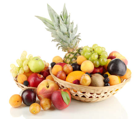 Still life of fruit in basket isolated on white Stock Photo - 15150043