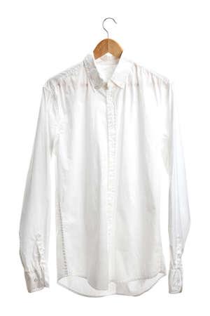 shirt on wooden hanger isolated on white Stock Photo - 15149337