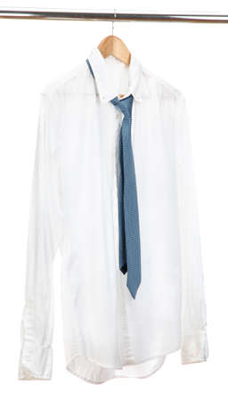 shirt with tie on wooden hanger isolated on white Stock Photo - 15148607