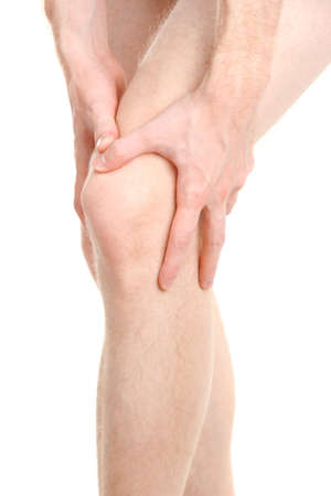 injured knee: man holding sore knee, isolated on white Stock Photo