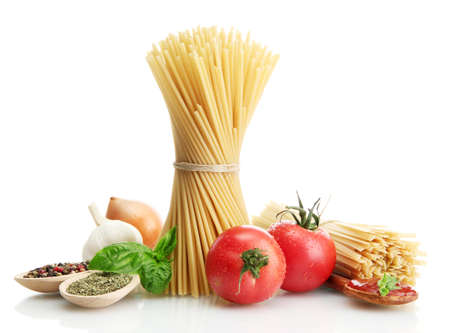 Pasta spaghetti, vegetables and spices, isolated on white Stock Photo - 15149620