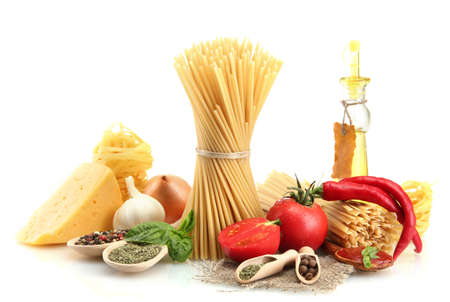 Pasta spaghetti, vegetables, spices and oil, isolated on white Stock Photo - 15150027