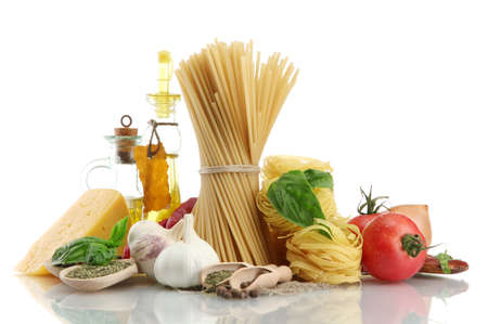 Pasta spaghetti, vegetables, spices and oil, isolated on white Stock Photo - 15150192