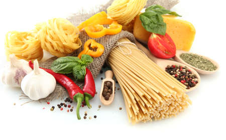 Pasta spaghetti, vegetables and spices, isolated on white Stock Photo - 15151243