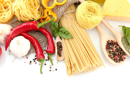 Pasta spaghetti, vegetables and spices, isolated on white Stock Photo - 15152857