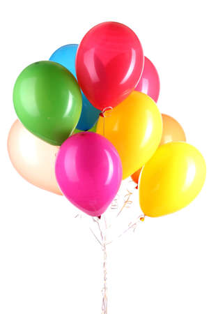 helium: Colorful balloons isolated on white
