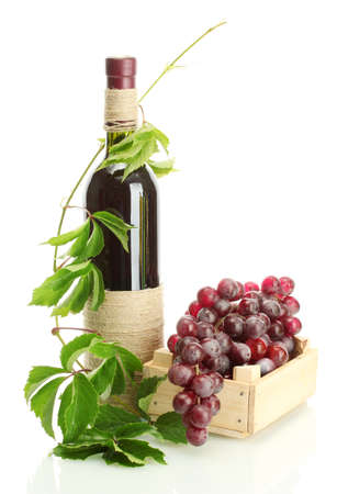 bottle of wine with grapes isolated on white Stock Photo - 15150561