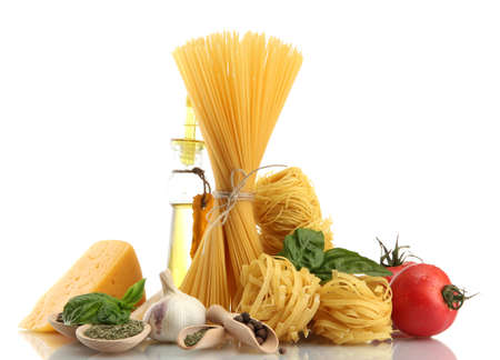 Pasta spaghetti, vegetables, spices and oil, isolated on white Stock Photo - 15168908