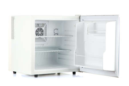 Open an empty mini fridge isolated on white photo