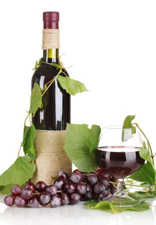 bottle of wine with grape leaves isolated on white Stock Photo - 15505841