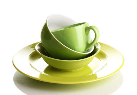 Green tableware isolated on white