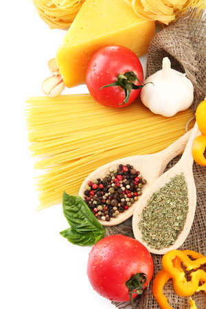 Pasta spaghetti, vegetables and spices, isolated on white Stock Photo - 15283101