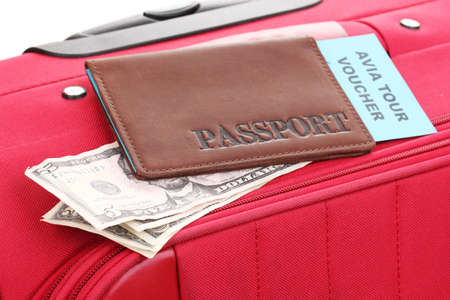 Passport and ticket on suitecase close-up Stock Photo - 15242531